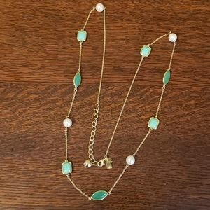 Kate Spade gold necklace with Pearl & Green stones